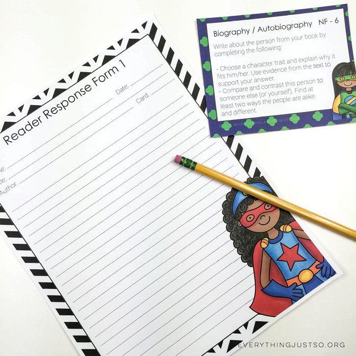 Superhero Reading Response Task Cards 2 - everythingjustso.org ~ Kate Hadfield Designs