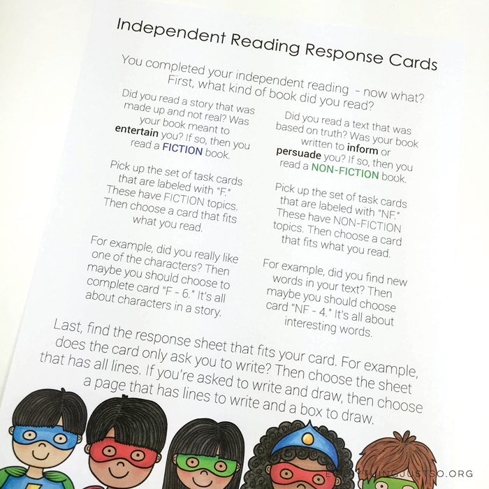 Superhero Reading Response Task Cards - everythingjustso.org ~ Kate Hadfield Designs