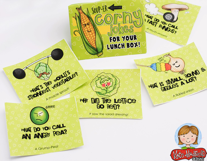 Fun corny lunch box jokes printables from Kate Hadfield Designs! Pop one of these into your child's lunch box for a giggle at school!