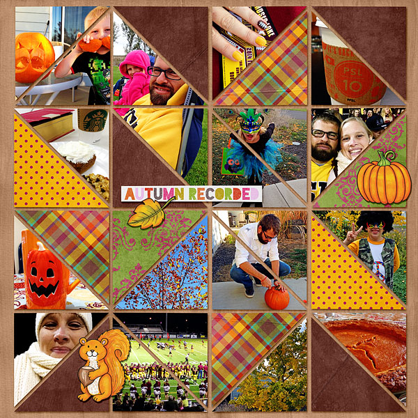 "Kate Hadfield Designs Creative Team ""Autumn & Fall"" Favourites: Digital scrapbook layout by Bethany"