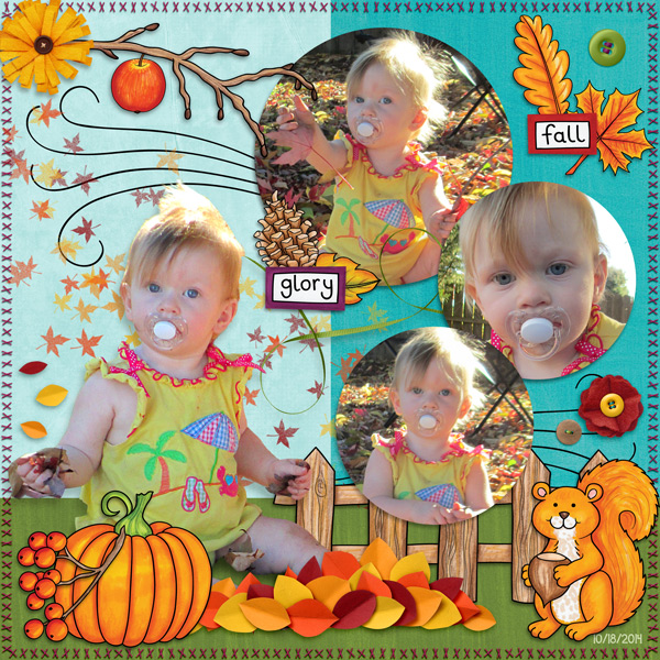 """Kate Hadfield Designs Creative Team """"Autumn & Fall"""" Favourites: Digital scrapbook layout by Molly"""
