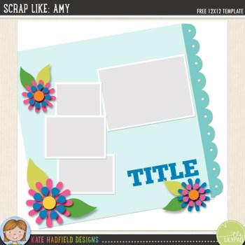 FREE Digital Scrapbooking template   Scrap Like Amy