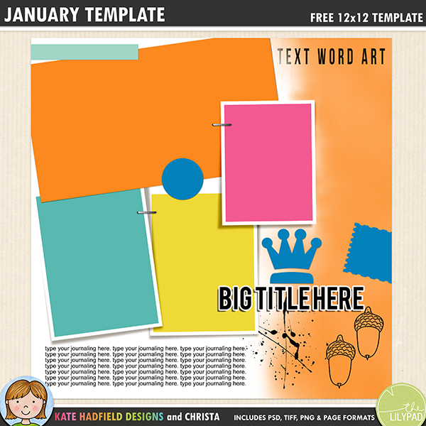 Free digital scrapbooking template / scrapbook sketch from Kate Hadfield Designs. Click for lots of fun digital scrapbook layout examples and to download your free template! Download includes PSD, TIFF, PNG and PAGE file formats.