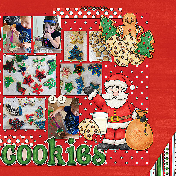 Christmas Cookies digital scrapbooking page | scrapbook layout ideas | Kate Hadfield Designs creative team layout by Kristina