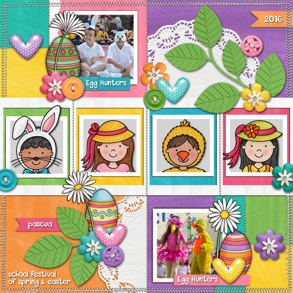 Digital scrapbook page created with the Egg Hunters digital scrapbook kit from Kate Hadfield Designs! | Layout by Creative Team member Karen