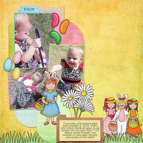 Digital scrapbook page created with the Egg Hunters digital scrapbook kit from Kate Hadfield Designs! | Layout by Creative Team member Kristina