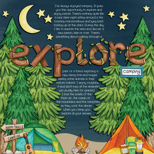 """Explore Camping"" photo-less digital scrapbook layout 