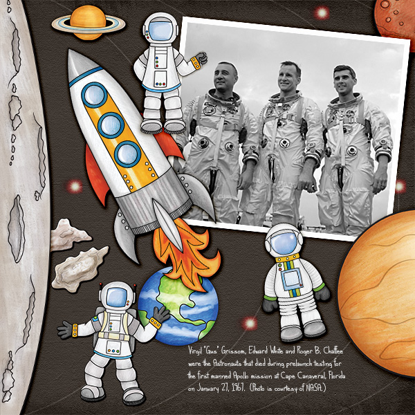 "Space digital scrapbook page created with ""Blast Off!"" digital scrapbooking kit by Kate Hadfield 