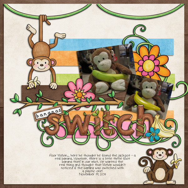 "Fun digital scrapbook page created with ""Monkeying Around"" digital scrapbooking kit by Kate Hadfield Designs 