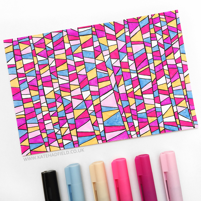 colourful geometric pattern doodles drawn on an index card