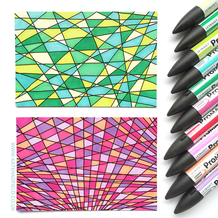 colourful geometric pattern doodles drawn on index cards