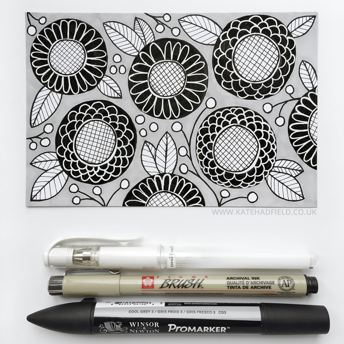black and white floral pattern drawing on an index card