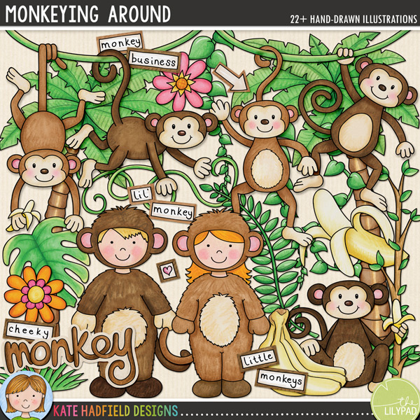 Monkeying Around digital scrapbooking elements | cute monkey clip art | Hand-drawn illustrations for digital scrabooking, crafting and teaching resources from Kate Hadfield Designs!