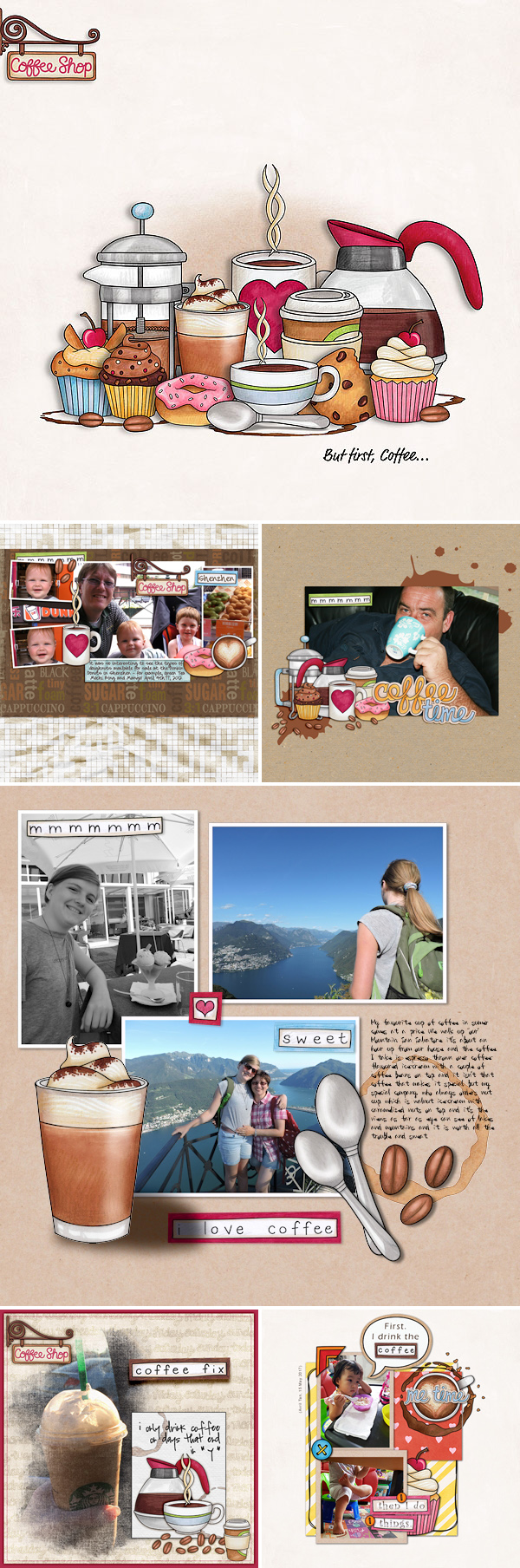 Digital scrapbooking layouts created with Coffee and Cupcakes kit from Kate Hadfield Designs