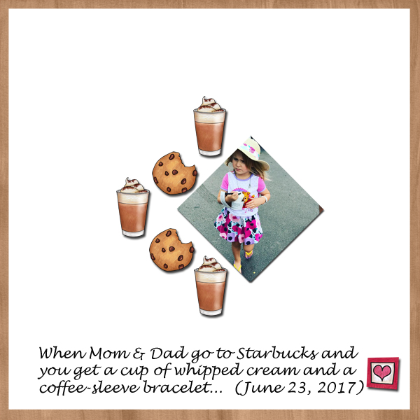"""Fun digital scrapbook page created with """"Coffee & Cupcakes"""" digital scrapbooking kit by Kate Hadfield Designs 