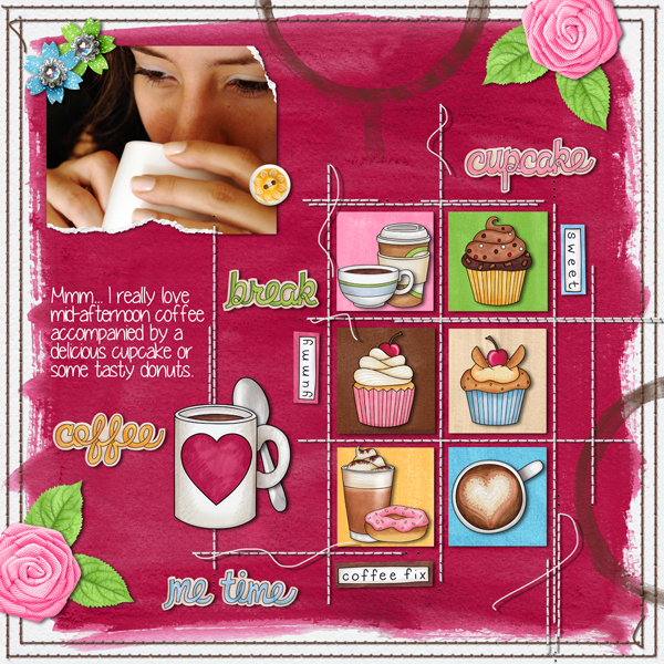 "Fun digital scrapbook page created with ""Coffee & Cupcakes"" digital scrapbooking kit by Kate Hadfield Designs 