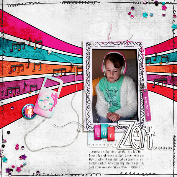 Teen girl scrapbook page created with 'Audaciously Awesome' digital scrapbooking kit by Kim Jensen and Kate Hadfield – fun ideas for scrapbook pages! Layout by Creative Team member Birgit