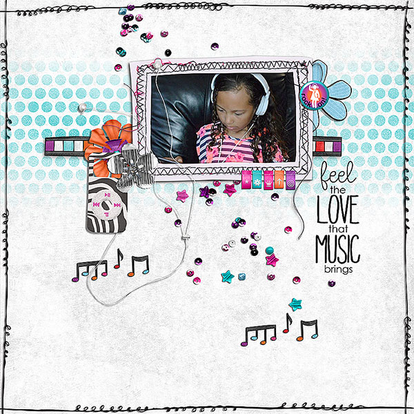 Teen girl scrapbook page created with 'Audaciously Awesome' digital scrapbooking kit by Kim Jensen and Kate Hadfield – fun ideas for scrapbook pages! Layout by Creative Team member Judy