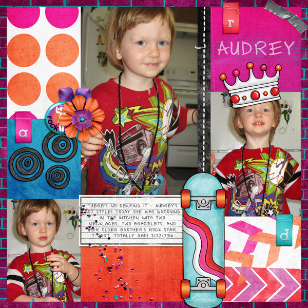 Teen girl scrapbook page created with 'Audaciously Awesome' digital scrapbooking kit by Kim Jensen and Kate Hadfield – fun ideas for scrapbook pages! Layout by Creative Team member Molly