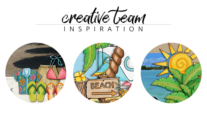 Creative Team Inspiration: digital scrapbook pages from the Kate Hadfield Designs creative team created with the 'Island Paradise' kit
