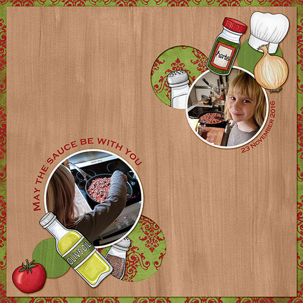 Digital scrapbook layout created with the FREE digital scrapbooking template from Kate Hadfield Designs! | layout by CT member Lorry