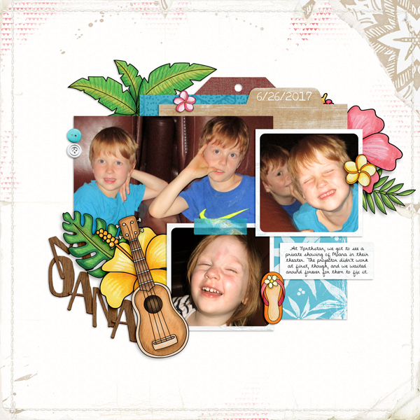 "Tropical vacation scrapbook page created with ""Island Paradise"" digital scrapbooking kit by Kate Hadfield Designs - fun ideas for vacation scrapbook pages! Layout by Creative Team member Molly"
