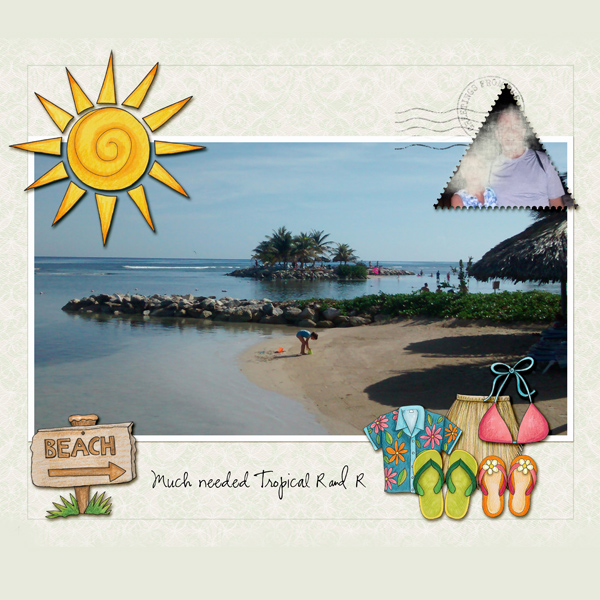 "Tropical vacation scrapbook page created with ""Island Paradise"" digital scrapbooking kit by Kate Hadfield Designs - fun ideas for vacation scrapbook pages! Layout by Creative Team member Christa"