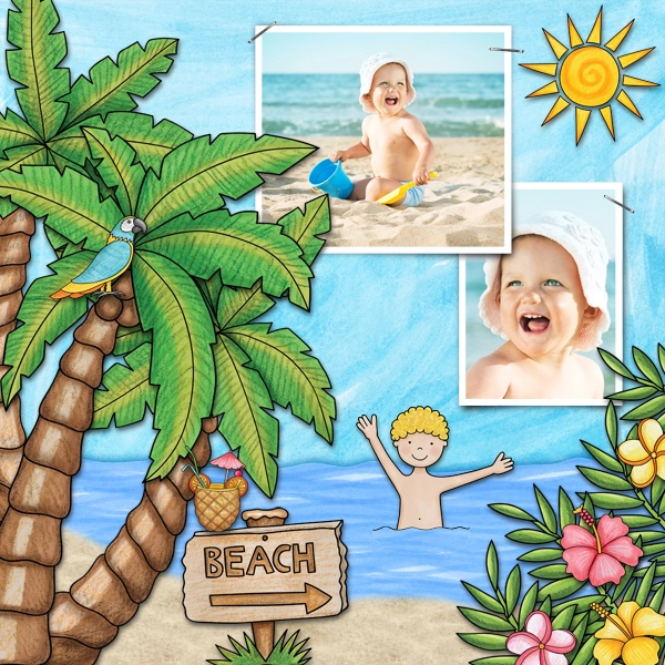 "Tropical vacation scrapbook page created with ""Island Paradise"" digital scrapbooking kit by Kate Hadfield Designs - fun ideas for vacation scrapbook pages! Layout by Creative Team member Karen"