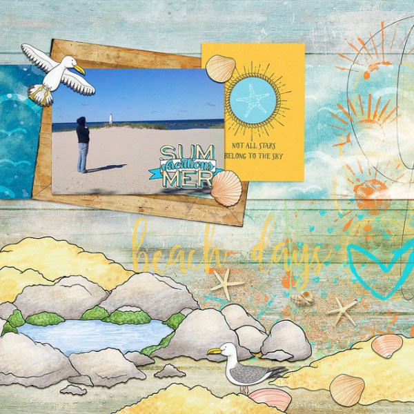 "Beach scrapbook page created with ""Beside the Seaside"" digital scrapbooking kit by Kate Hadfield Designs – fun ideas for summer scrapbook pages! Layout by Creative Team member Kristina"