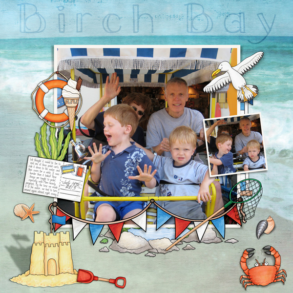 """Beach scrapbook page created with """"Beside the Seaside"""" digital scrapbooking kit by Kate Hadfield Designs – fun ideas for summer scrapbook pages! Layout by Creative Team member Molly"""