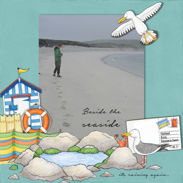 """Beach scrapbook page created with """"Beside the Seaside"""" digital scrapbooking kit by Kate Hadfield Designs – fun ideas for summer scrapbook pages! Layout by Creative Team member Olga"""