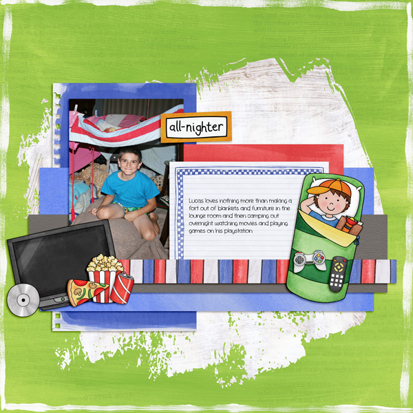"Boys' slumber party / sleepover scrapbook page created with 'Boys' Night In"" digital scrapbooking kit by Kate Hadfield Designs – fun ideas for scrapbook pages! Layout by Creative Team member Kirstie"