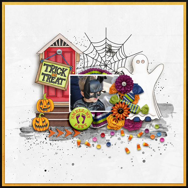 "Halloween scrapbook page created with the ""Trickity Treat"" digital scrapbooking kit by Kate Hadfield and Kim Jensen – fun ideas for Halloween scrapbook pages! Layout created by Creative Team member Ellen"