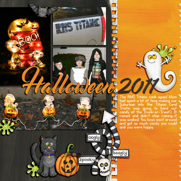 """Halloween scrapbook page created with the """"Oogly Boogly"""" digital scrapbooking kit from Kate Hadfield Designs – fun ideas for Halloween scrapbook pages! #digitalscrapbooking Layout created by Creative Team member Keela"""