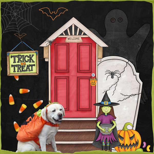 "Halloween scrapbook page created with the ""Trickity Treat"" digital scrapbooking kit by Kate Hadfield and Kim Jensen – fun ideas for Halloween scrapbook pages! Layout created by Creative Team member Stacey"
