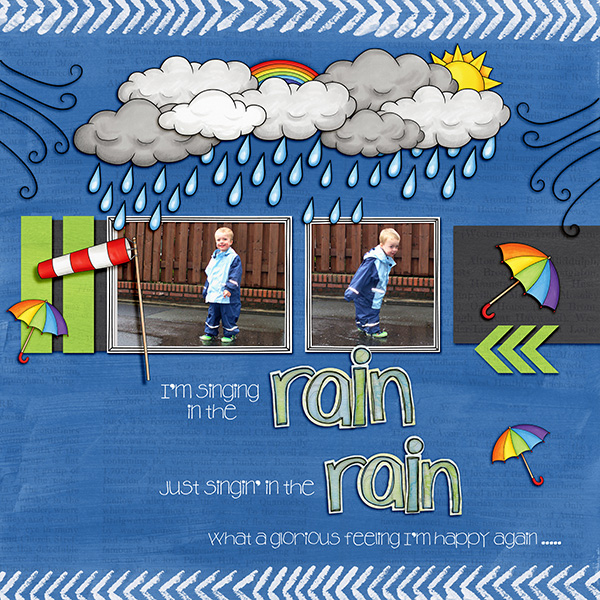"Digital scrapbook page created with the ""Whatever the Weather"" digital scrapbooking kit by Kate Hadfield – fun ideas for scrapbook pages! Layout created by Creative Team member Birgit"