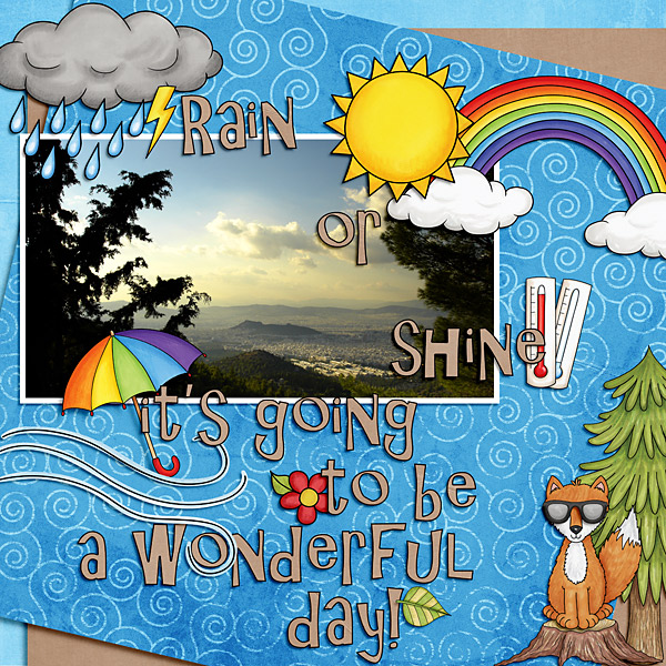 "Digital scrapbook page created with the ""Whatever the Weather"" digital scrapbooking kit by Kate Hadfield – fun ideas for scrapbook pages! Layout created by Creative Team member Cindy"
