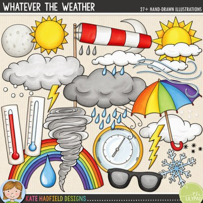 Weather digital scrapbooking elements / cute weather clip art! Hand-drawn illustration for digital scrapbooking, hybrid crafting and teaching resources from Kate Hadfield Designs! #digitalscrapbooking
