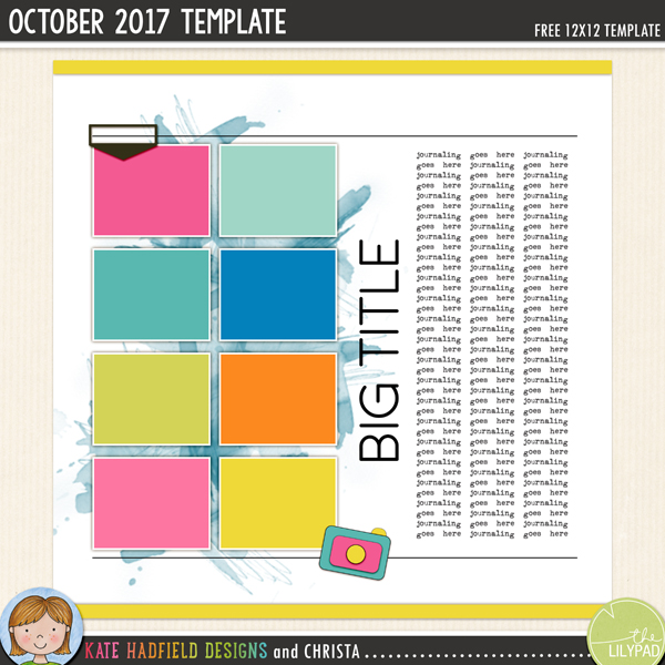 Free Digital Scrapbooking Template / scrapbook sketch from Kate Hadfield Designs! Click for scrapbook pages created using this free template!