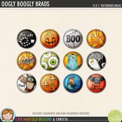 Halloween brads digital scrapbooking elements – hand-drawn kits for digital scrapbooking, hybrid crafting and teaching resources from Kate Hadfield Designs!