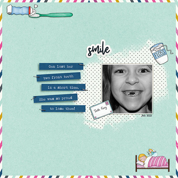 Digital scrapbooking page created with this month's free template from Kate Hadfield – fun ideas for scrapbook pages! Layout created by Creative Team member Sara