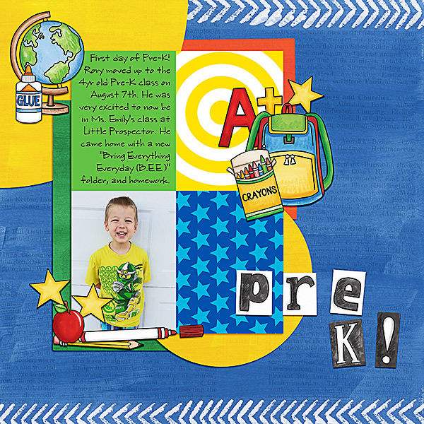 School scrapbook pages and ideas for back to school scrapbooking from the Kate Hadfield Designs Creative Team! #digitalscrapbooking #scrapbook Layout created by CT member Kristina
