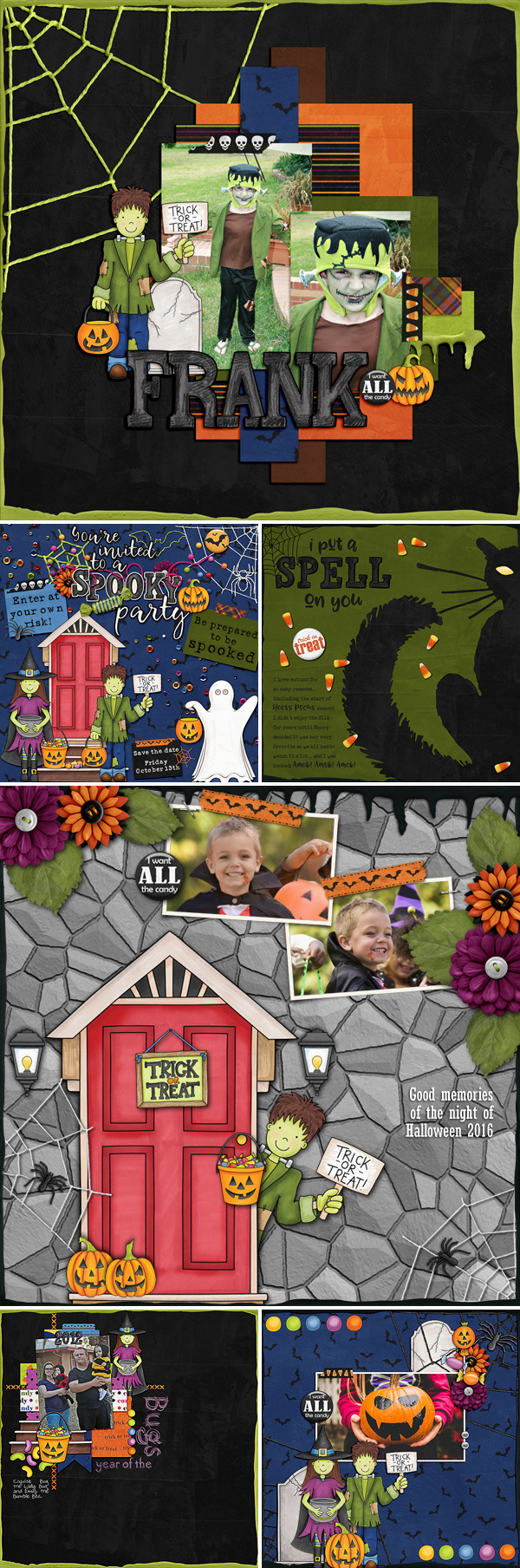"Halloween scrapbook pages created with ""Trickity Treat"" digital scrapbooking kit by Kate Hadfield and Kim Jensen - fun ideas for Halloween scrapbook pages! Layouts by the Kate Hadfield Designs Creative Team #digitalscrapbooking"