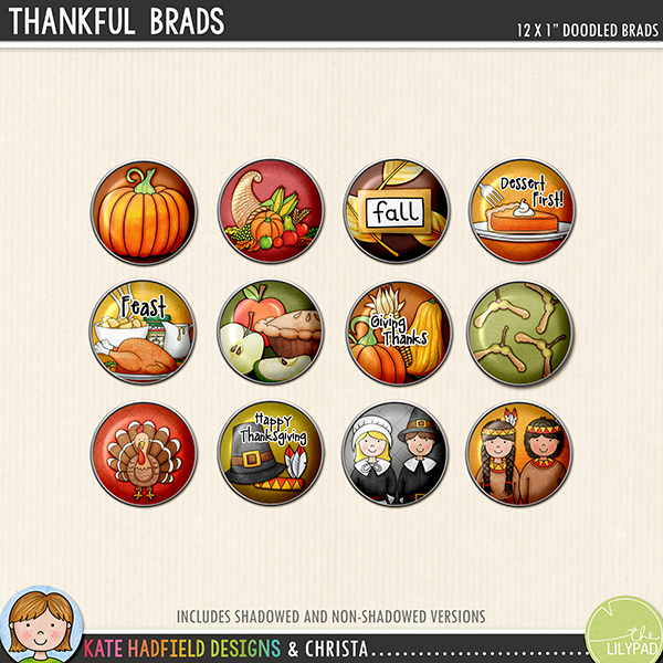 Thanksgiving Brads digital scrapbooking elements - fun little doodled brads for your scrapbook pages and projects! Hand-drawn kits for digital scrapbooking and hybrid crafting from Kate Hadfield