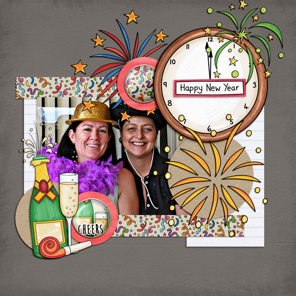 New Year digital scrapbook page created with this month's free template from Kate Hadfield - fun ideas of celebration scrapbook pages! Layout by Creative Team member Kirstie