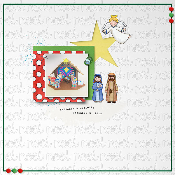 Nativity scrapbook page created with digital scrapbooking kits from Kate Hadfield Designs – ideas and inspiration for scrapbooking the Christmas story. Layout by Creative Team member Desi