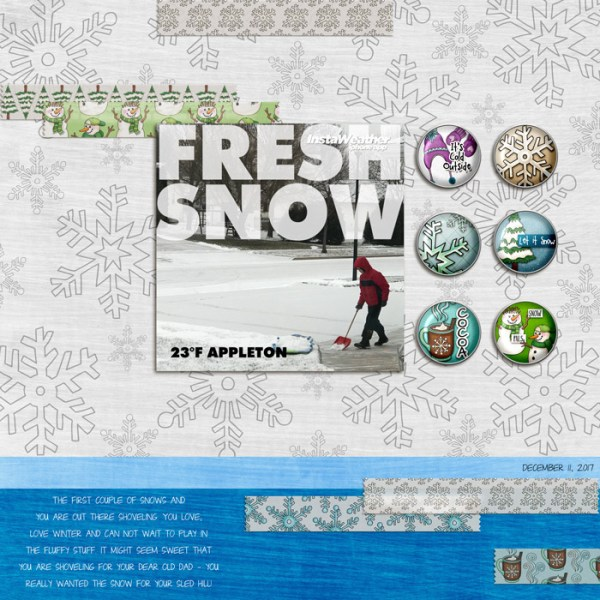 Winter scrapbook page created with digital scrapbooking kits from Kate Hadfield Designs – fun ideas and inspiration for scrapbooking your winter memories! Layout by Creative Team member Rebecca