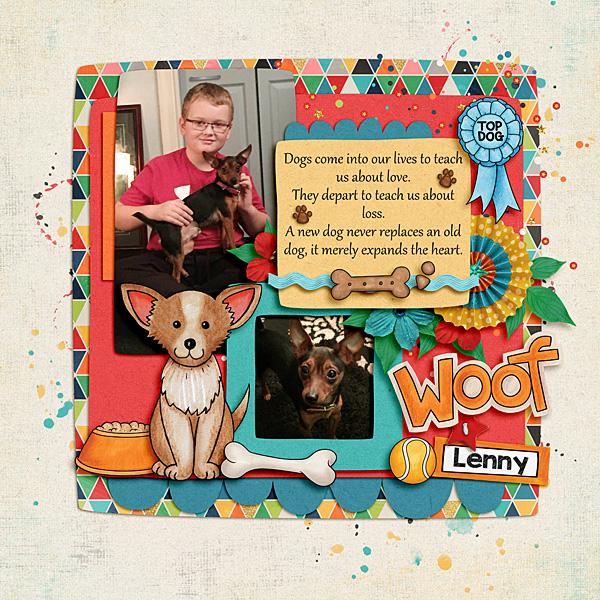 dog scrapbook layout by lisa