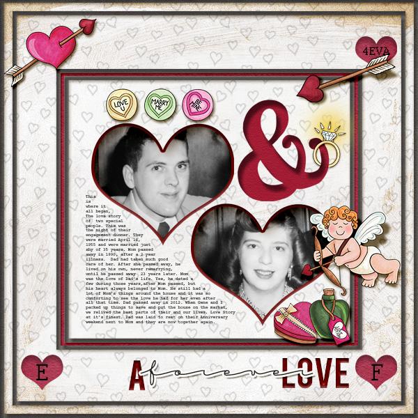Valentine's digital scrapbook page by christa