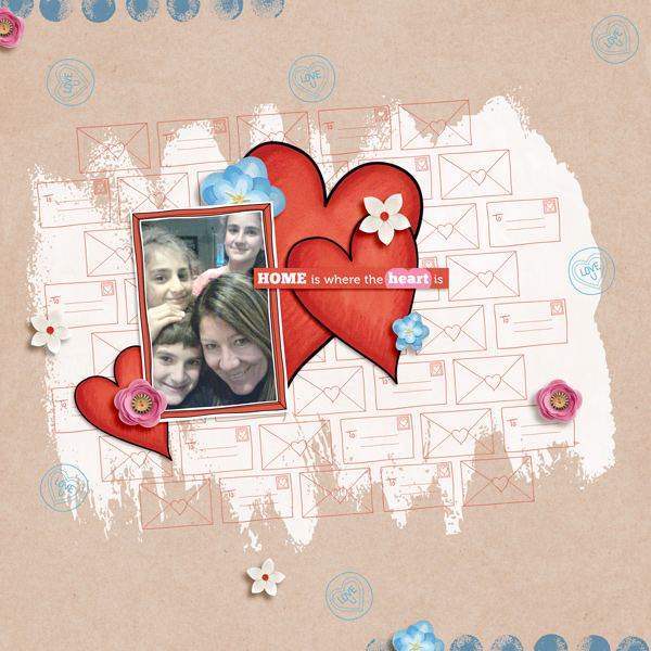 Valentine's digital scrapbook page by Kirstie